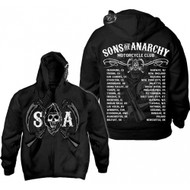 Sons of Anarchy Chapters Cities Reaper Full Zip Hoodie Sweatshirt