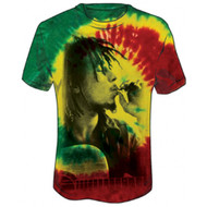 Bob Marley - Rasta Smoke Tie Dye Adult T-shirt