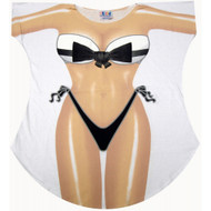 Bow Tie Bikini Cover up T-shirt Lady's Fun Wear