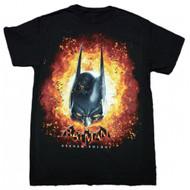 Batman Arkham Knight Cowl Flamed Adult T-Shirt