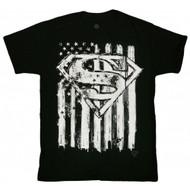 Superman Superman Emblem & Flag Adult T-Shirt