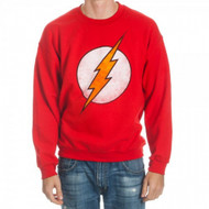 DC Comics Flash Logo Adult Red Crew Sweatshirt