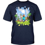 Minecraft Adventure with Steve Adult T Shirt