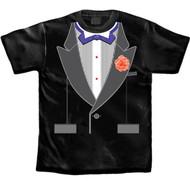 Tuxedo T-shirt Purple Bow Tie with Rhinestones