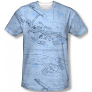 Star Trek Blue Print Frontier Vintage Feel Sublimation Print T-shirt