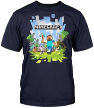 Minecraft Adventure Steve With Logo Adult T-Shirt
