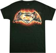 Batman Vs Superman - Fire Symbol Adult T-Shirt