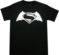 Batman VS Superman - White Distressed Movie Logo Adult T-Shirt