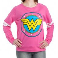 DC Comics Wonder Woman Logo Juniors French Terry Long Sleeve Shirt