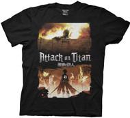 Attack On Titan Fire Keyart Adult T-shirt