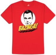 The Big Bang Theory Bazinga with Sheldon Red Adult T-shirt
