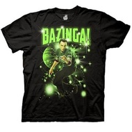 The Big Bang Theory Sheldon Glowing Bazinga Stars Adult Black T-shirt