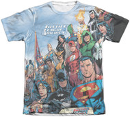 Justice League of America Big Print Vintage Feel Sublimation Print T-shirt