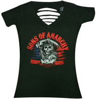 Sons Of Anarchy Laser Cut Reaper Flag Juniors T-Shirt