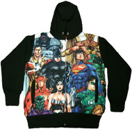 DC Comics Justice League 52 Heroes Dye Sublimation Adult Zip Hoodie