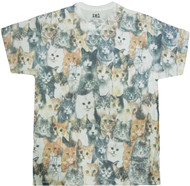 Kitty Cats All Over Graphic Sublimated Adult T-Shirt