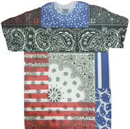 Bandana Print USA Flag Sublimated Adult T-Shirt