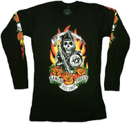 Sons Of Anarchy Fire Roses Reaper Junior Long Sleeve Shirt
