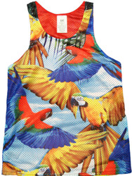 Flying Parrot Print Tank Top