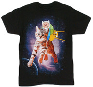 Adventure Time - Finn Jake Space Kitty Adult T-Shirt