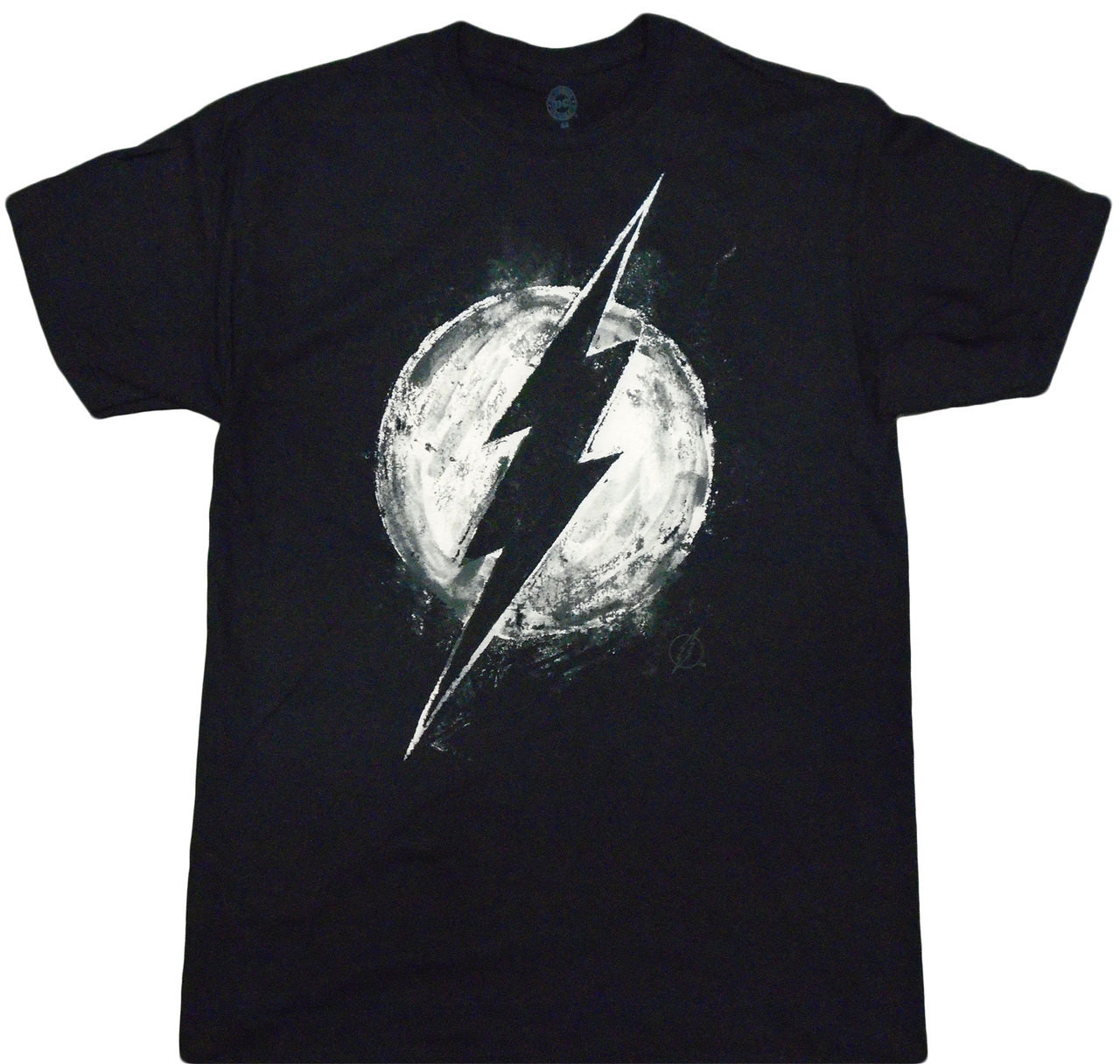 T-Shirt Flash Distress Black S DC Comics