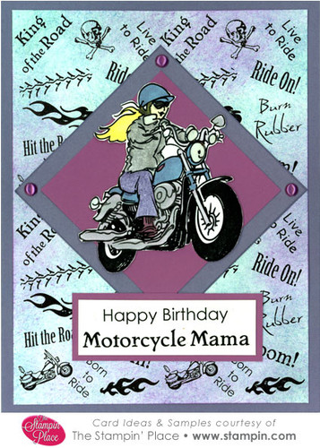 happy birthday motorcycle mama   card ideas  u0026 samples   rubber stamps  art stamps  custom stamps