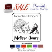 SPECIAL CUSTOM: Hedgehog Book Style: Pre-ink Stamp
