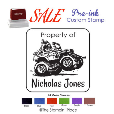 SPECIAL CUSTOM: Wheelie Car Style: Pre-ink Stamp