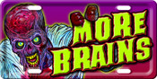More Brains Zombie License Plate