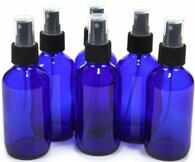 4oz Cobalt Blue Glass Bottles with Black Fine Mist Sprayer - Pack of 6