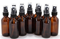 2 oz Amber Glass Bottle with Fine Mist Sprayer - Pack of 12