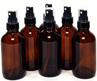 4 oz Amber Glass Bottles with Black Fine Mist Sprayer - Pack of 6