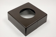 "Square 12"" x 12"" Base Cover with 5"" Diameter Round Opening - 4 1/2"" Tall - Bronze Paint Finish"
