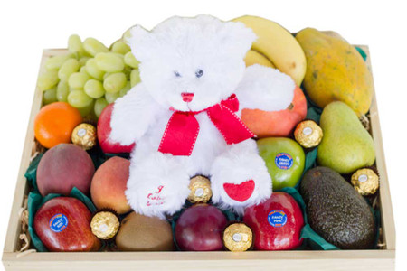 Gift hamper with i love you white teddy ferrero fruit for gifts image 1 negle Images