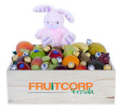 Fruit Hamper with Pink Bunny & Chocolate