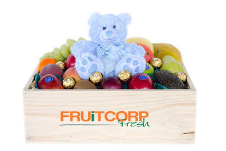 It's a Baby Boy Gift Hamper with Blue Teddy & Ferrero Chocolates