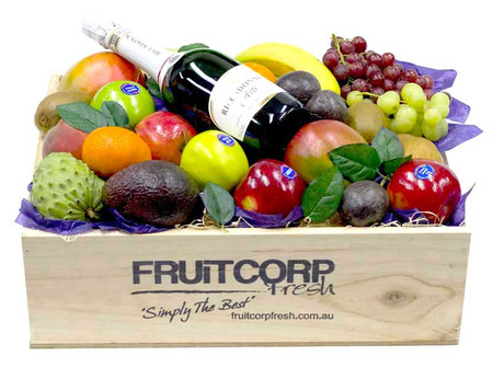 Fresh fruit Gift Hamper with a bottle of Riccadonna in a lovely hand crafted wooden box.