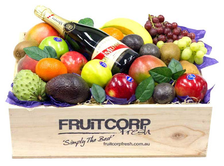 GH Mumm Champagne Gift Hamper presented in a beautiful hand crafted wooden box with fresh fruit.