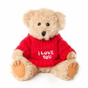 "An adorable soft and cuddly teddy bear with the message ""I Love You"" on it's red jumper."