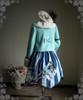 Co-ordinates Show (Mint Blue + White Fur Ver.) (beret: P00572, dress: DR00112N, Cheshire cat armband: P00584)