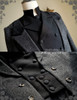 Elegant Gothic  Aristocrat Victorian False 4pcs Tweed Tuxedo Jacket Long Coat for Man