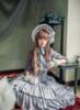 Vintage Corset Dress Strapless A Line Dress Corsage Cravat Set Black Grey