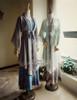 Sale Vintage Maxi Dress Printed Sleeveless Summer Dress Retro Fashion Blue Grey