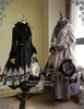 Co-ordinates Show (fur collar: P00611) (Left: skirt: SP00174, birdcage petticoat: UN00019N, tote: P00613) (Right: dress inside: DR00173, birdcage petticoat: UN00019N, tote: P00583)