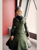 Steampunk A Line Skirt Midi Skirt Fur Trim Uniform Skirt Khaki Green