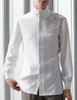 Vintage Stand Collar Shirt Men Shirt Handmade Shoulder Chain Set White Black