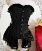 New Romantic, Rococo Lolita Victorian Steel Boned Peplum Corset & Brooch*Instant Shipping