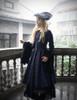 Medieval Borgia, Gothic Vintage Elegant Fleur-de-lis Handmade Retro Cartwheel Hat*Black