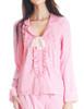 Vintage Preppy Silk Shirt Women Pajamas Shirt Sleepwear *Mint Pink
