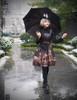 Steampunk Printed Dress Midi Dress Jumper Skirt Dress* Black Brown